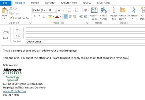 Professional Out Of Office Message Template Keywordsfind Com Out Of Office Email Template
