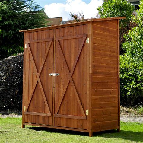 outdoor storage cabinets with doors homcom garden shed storage cabinet double door aosom co uk