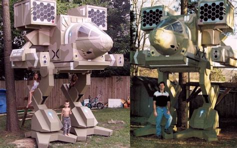 cat tree house dad builds mad cat battlemech treehouse for his kids