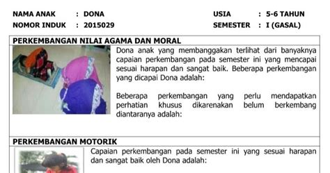 format laporan bop paud 2017 download buku laporan perkembangan anak paud dan tk tahun