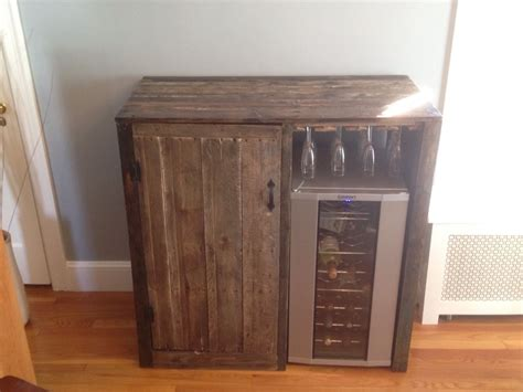 liquor cabinet with wine fridge my first pallet project rustic liquor cabinet with built