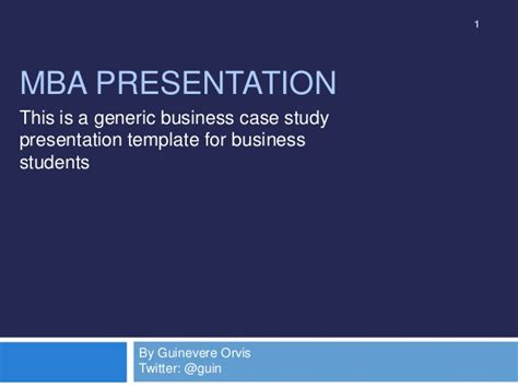 Mba Study Analysis Exle by Mba Study Presentation Template