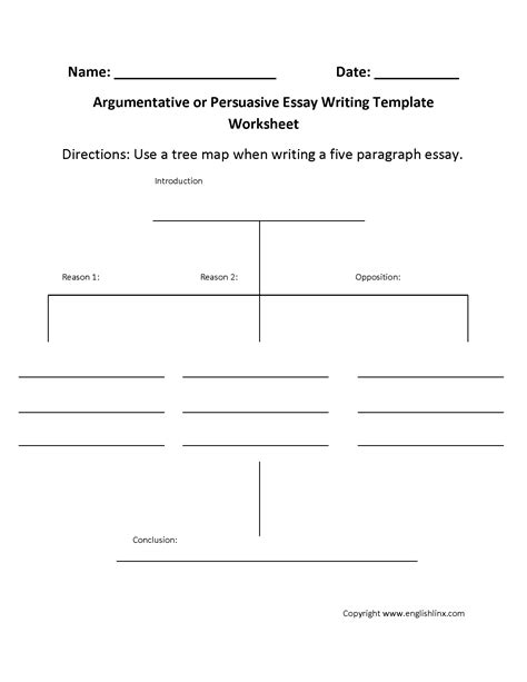 Writing Worksheets Writing Template Worksheets Argumentative Writing Template