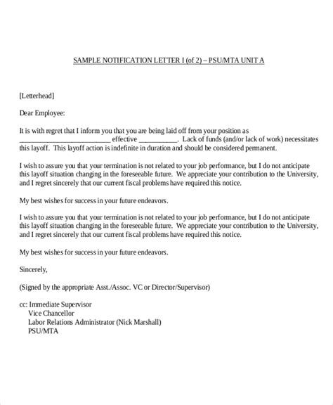 layoff notice template selected topic image sle letter