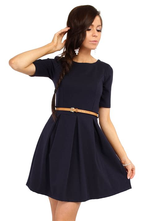 navy blue magnanimous modern belted tea length dress
