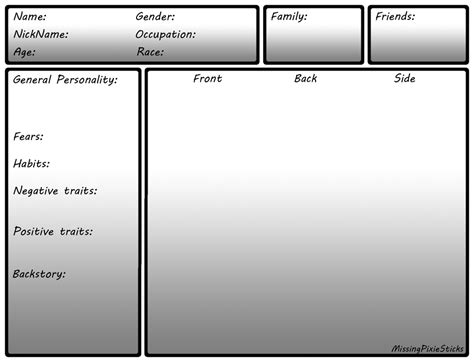 simple character card template character sheet template by missingpixiesticks on deviantart