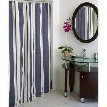 Blue and white vertical stripe shower curtain