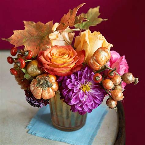 bouquet centerpiece of fall flowers and vegetables xenia