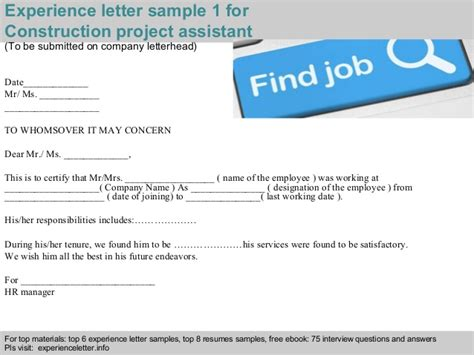 Work Experience Letter To Contractor Construction Project Assistant Experience Letter