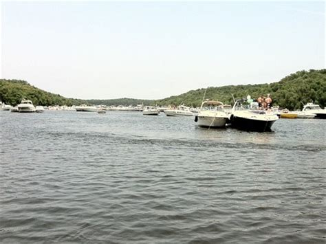 used boat parts lake of the ozarks hundreds of boats owners in party cove relaxing osage