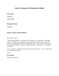 Letter To Request For Permanent Position Writeletter2 Com Temp To Perm Offer Letter Template