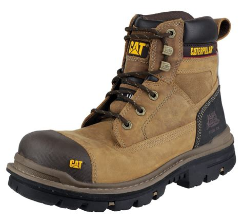 Caterpillar Solid Boots Safety mens cat caterpillar gravel steel toe cap safety work boots black beige 6 12 ebay