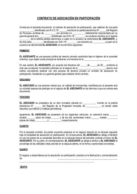 modelo de contrato de una sociedad civil crear empresas contrato de asociaci 243 n en participaci 243 n