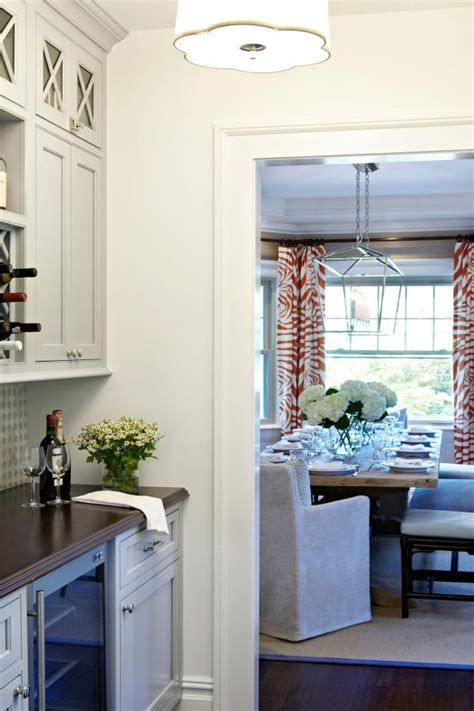 Dining Room Pantry Cabinets Neutral Transitional Butler S Pantry With View Of Dining