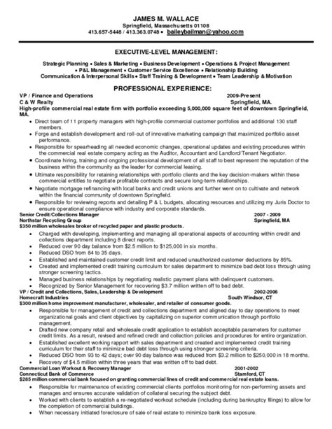 Winning Resume Template by Winning Resume Sle For Collections Manager Position With Professional Experience And