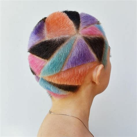 geometric buzz cuts and colorful hair tattoos inspired by
