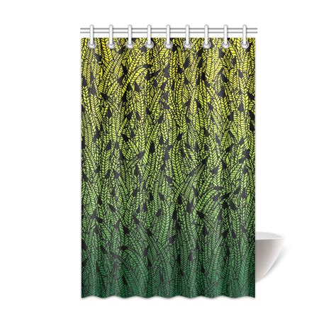 yellow ombre curtains yellow green ombre feathers pattern black shower curtain