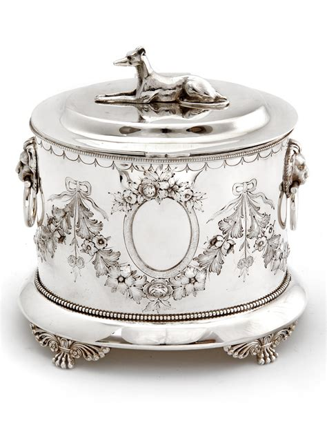 decorative boxes love how the finial repeats the shape decorative silver plated biscuit box with a greyhound