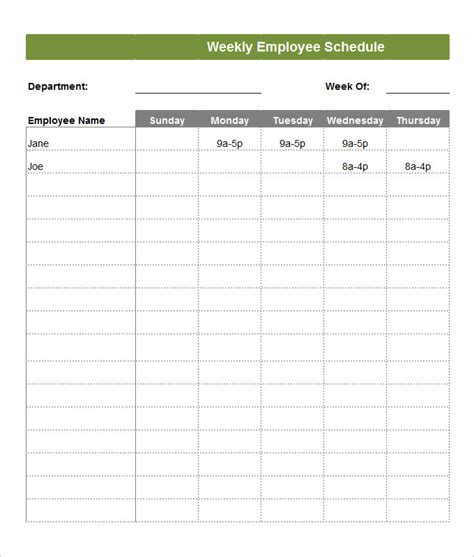 employee schedule template employee schedule template 5 free word excel pdf