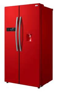 Registration of red american style fridge freezer 90cm wide with water