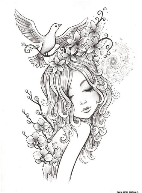 coloring pages for adults girl girl coloring pages online free popular flowers