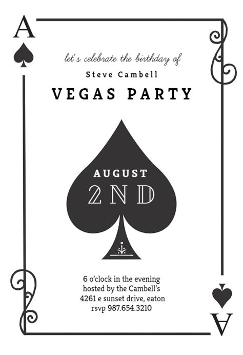 ace card template ace of spades birthday invitation template free