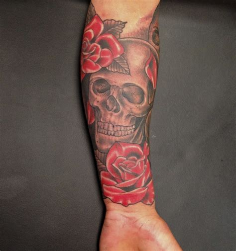 half sleeve rose tattoos for men and skull sleeve tattoos for and popular