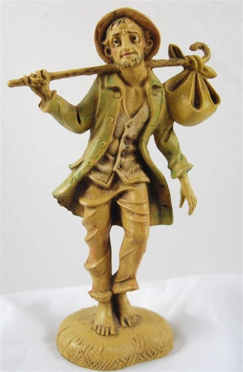 fontanini depose italy nativity man w cane and foot bag