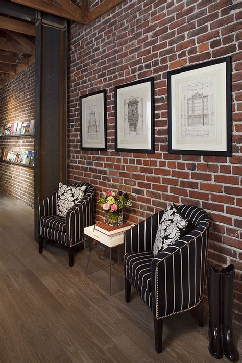 Rustic Chic Dining Room Ideas by Elegant Fake Brick Wall Vogue San Francisco Eclectic Hall