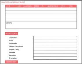 Nursing Handoff Report Template by Nursing Handoff Report Template Bidproposalform