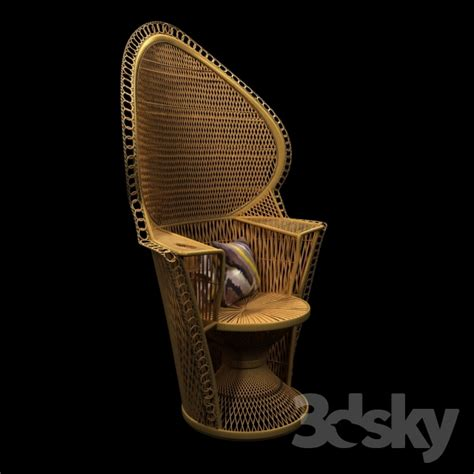fan back wicker chair 3d models arm chair wicker rattan fan back peacock