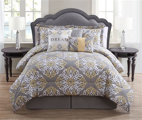 yellow queen comforter sets 7 piece queen dream gray yellow print comforter set ebay