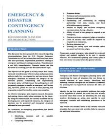 disaster contingency plan template contingency plan exle 9 sles in word pdf