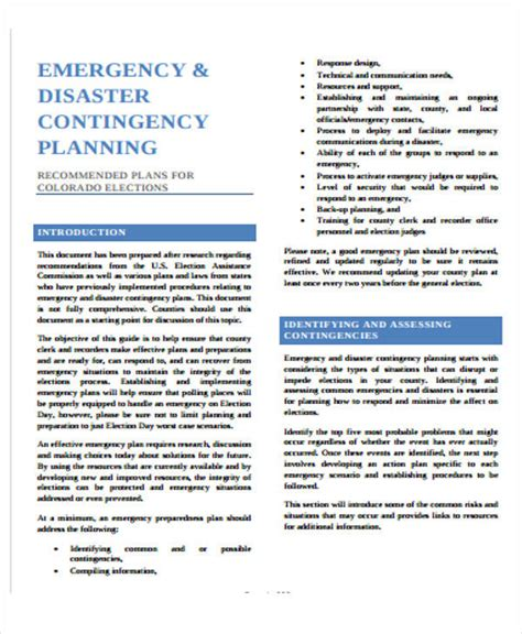 emergency contingency plan template contingency plan exle 9 sles in word pdf