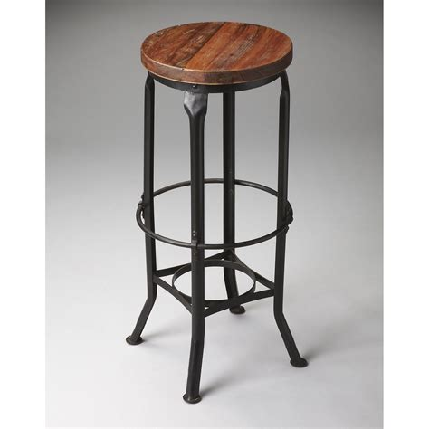 Black Wooden Bar Stool Furniture Brown Polished Wooden Bar Stools With Black Metal Legs And Footrest On