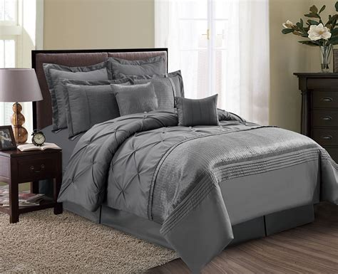 Grey Comforter Sets by 8 Aubree Pinched Pleat Gray Comforter Set