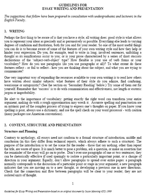 paper writing styles essay writing guidelines pdf