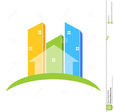 House Apartment Design Plans by Buildings Real Estate Logo Royalty Free Stock Image