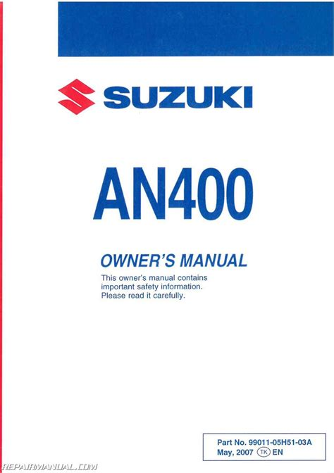 2008 Suzuki Burgman 400 Owners Manual 2008 Suzuki An400k8 Burgman Scooter Owners Manual