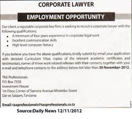 Lawyer Responsibilities by Corporate Lawyer Tayoa Employment Portal