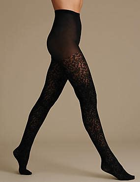 patterned tights marks and spencers floral texture tights
