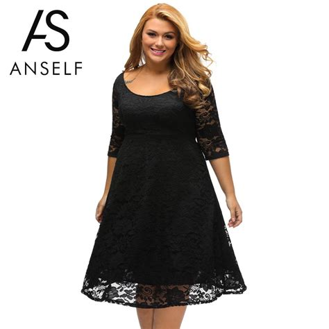 Khimar Simple Big Size anself autumn xxxl plus size dresses lace dress midi floral o neck a line large evening