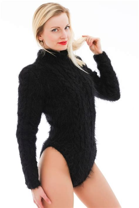 thick cable knit sweater black knitted mohair bodysuit thick cable knit