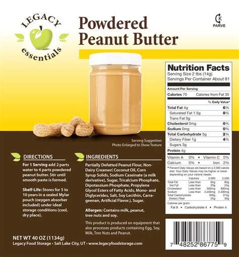 Powdered Peanut Butter Mix Smooth Creamy Peanut Butter Label Template