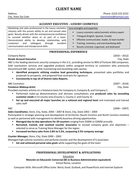 account executive resume sles account executive luxury sales