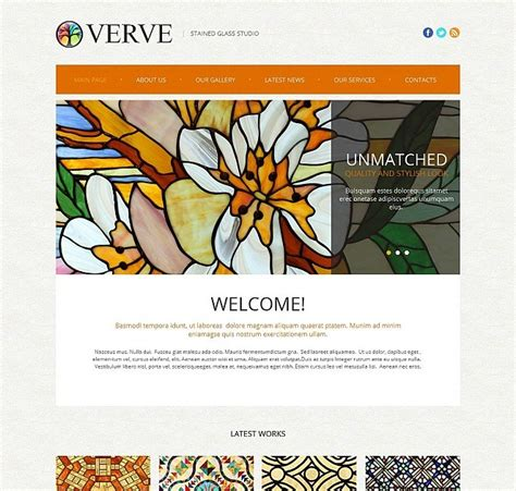 Stained Glass Art Studio Website Template Motocms Glass Website Templates