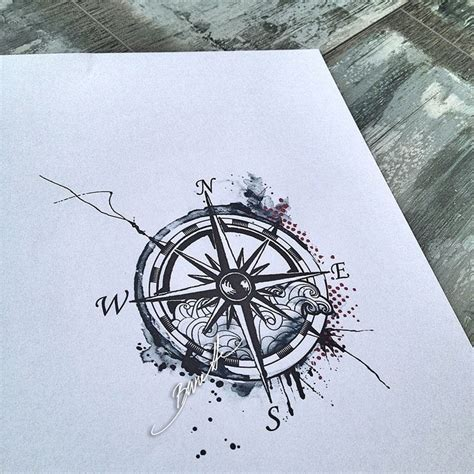 compass tattoo piece compass tattoo watercolor trash polka modern wave summer