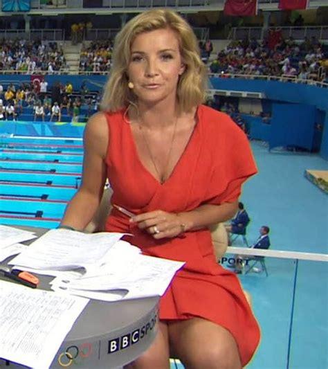 helen skelton rio olympics 2016 host wardrobe malfunction helen skelton takes the plunge in low cut pretty blue
