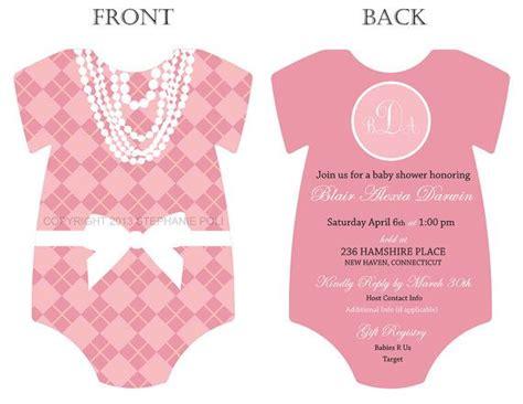 Diy Card Onesie With A Vest Card Template by Preppy Argyle Monogram Onesie Baby Shower Invitation