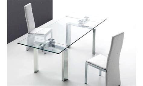 mesa de comedor extensible de cristal extragrueso  acero